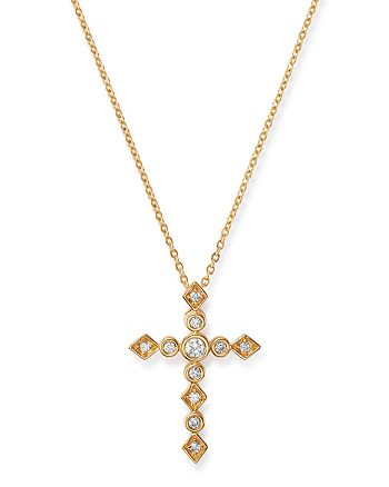 Bloomingdale's - Diamond Bezel Set Cross Pendant Necklace in 14K Yellow Gold, 0.20 ct. t.w. - 100% Exclusive