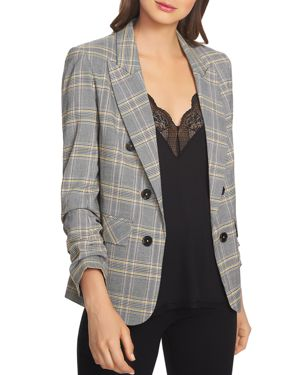 Menswear Plaid Ruched Sleeve Blazer, Rich Black