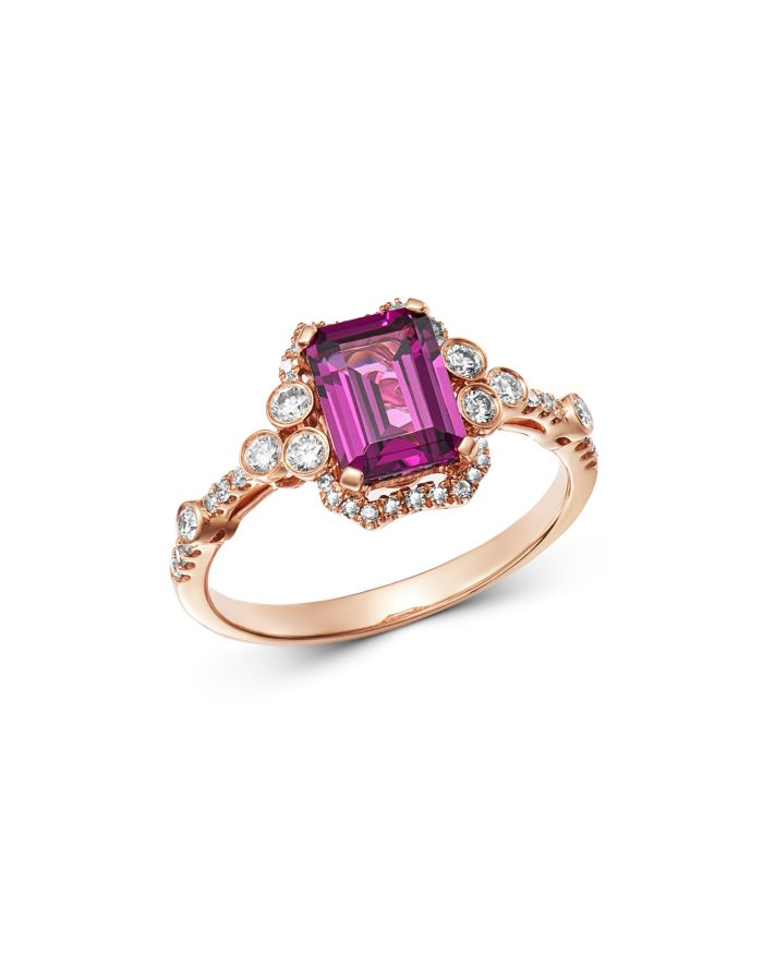Bloomingdale's Rhodolite & Diamond Ring in 14K Rose Gold - 100% Exclusive  | Bloomingdale's