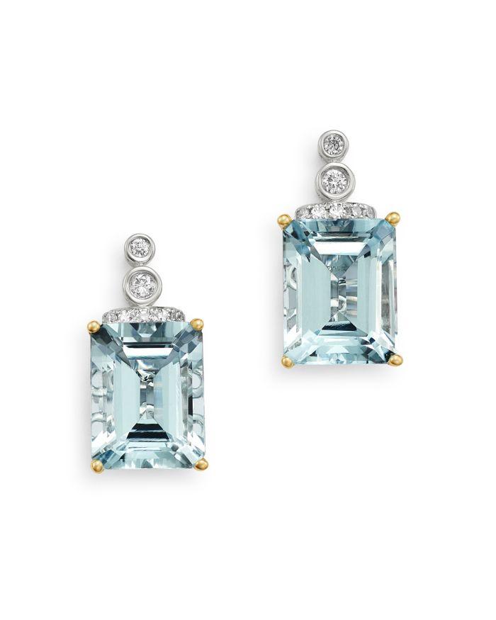 Bloomingdale's Aquamarine & Diamond Drop Earrings in 14K White Gold - 100% Exclusive  | Bloomingdale's