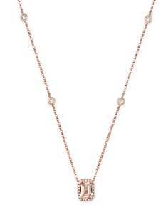 """Bloomingdale's - Morganite & Diamond Pendant Station Necklace in 14K Rose Gold, 18"""" - 100% Exclusive"""