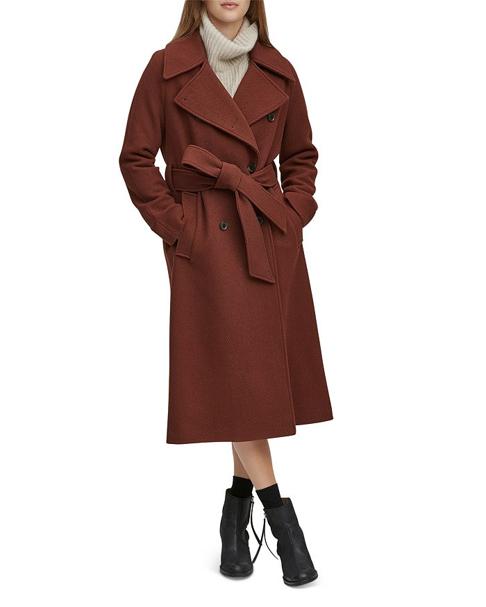 Andrew Marc - Sculpted Twill Double-Breasted Button-Front Coat