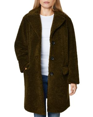 SAGE Collective Faux Shearling Teddy Jacket in Olive