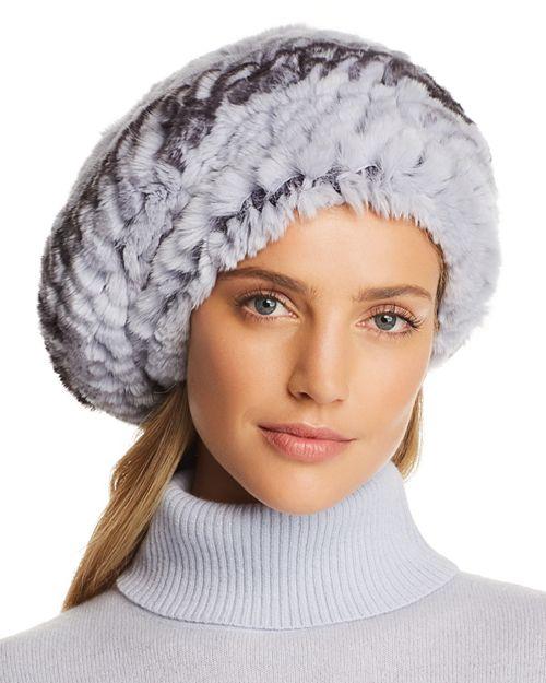 Maximilian Furs - Knit Rex Rabbit Fur Beret - 100% Exclusive