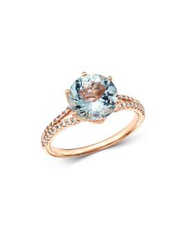 Bloomingdale's - Aquamarine & Diamond Cocktail Ring in 14K Rose Gold - 100% Exclusive