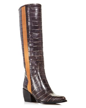Chloe Women's Vinny Croc-Embossed Leather Tall Boots