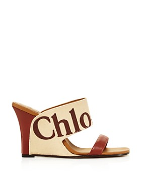 Chloé - Women's Verena Leather & Canvas Logo Wedge Sandals