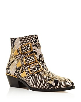 Chloé - Women's Pointed Toe Snakeskin-Embossed Leather Booties