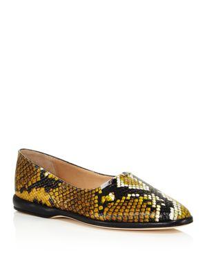 Chloe Women's Skye Round Toe Snakeskin-Embossed Leather Flats