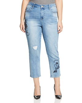 Seven7 Jeans Plus - Embroidered Straight-Leg Cropped Jeans in Affection