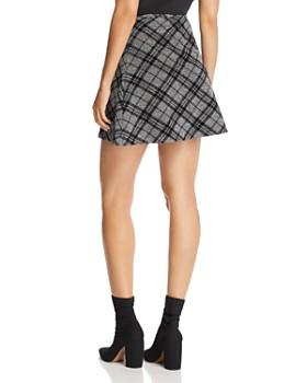 AQUA - Flocked Plaid A-Line Mini Skirt - 100% Exclusive