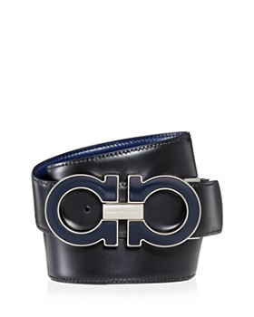 Salvatore Ferragamo - Men's Oversized Enamel Double Gancini Reversible Leather Belt