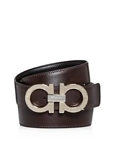 Salvatore Ferragamo - Etched Double Gancini Buckle Reversible Leather Belt