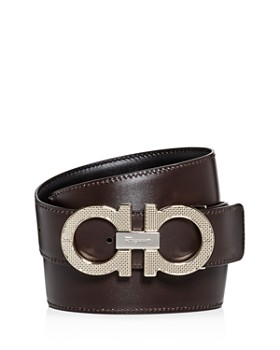 Salvatore Ferragamo - Men's Etched Double Gancini Buckle Reversible Leather Belt