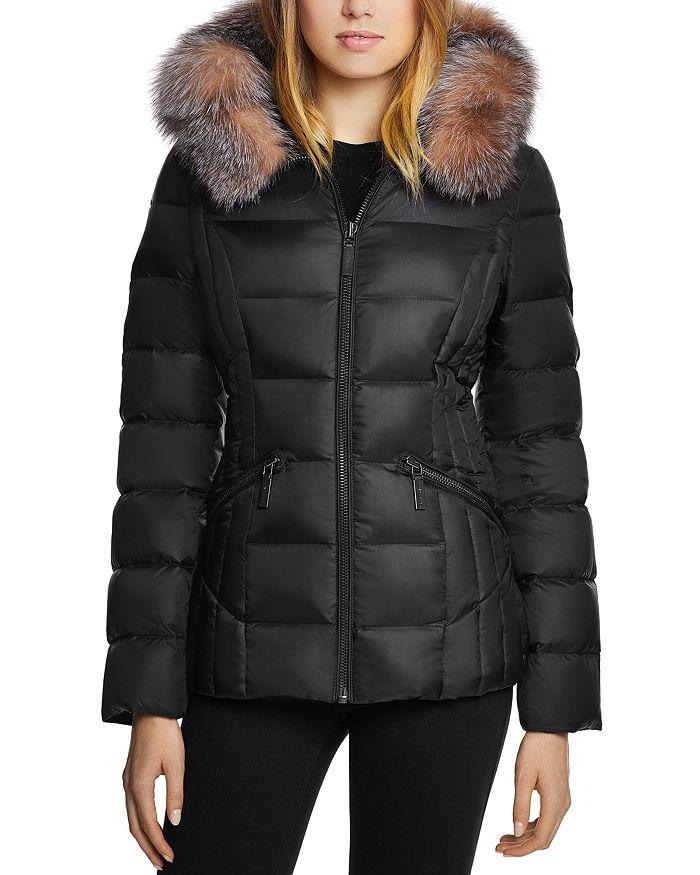 Dawn Levy Nikki Saga Fur Trim Short Down Coat In Black