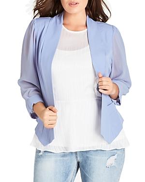 City Chic Plus Sheer-Sleeve Blazer