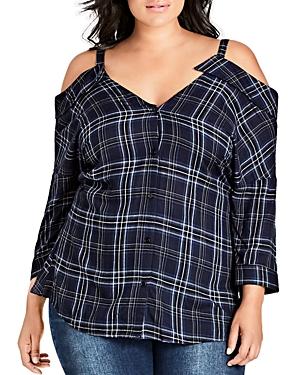 City Chic Plus Cold-Shoulder Plaid Shirt