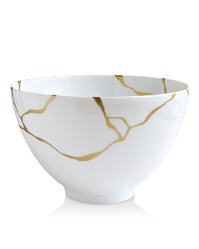 Bernardaud - Kintsugi-Sarkis 24K Gold Deep Salad Bowl, Set of 2