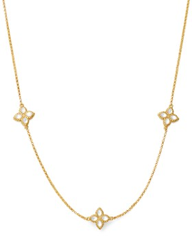 """Roberto Coin - 18K Yellow Gold Venetian Princess Mother of Pearl Station Necklace, 18"""""""