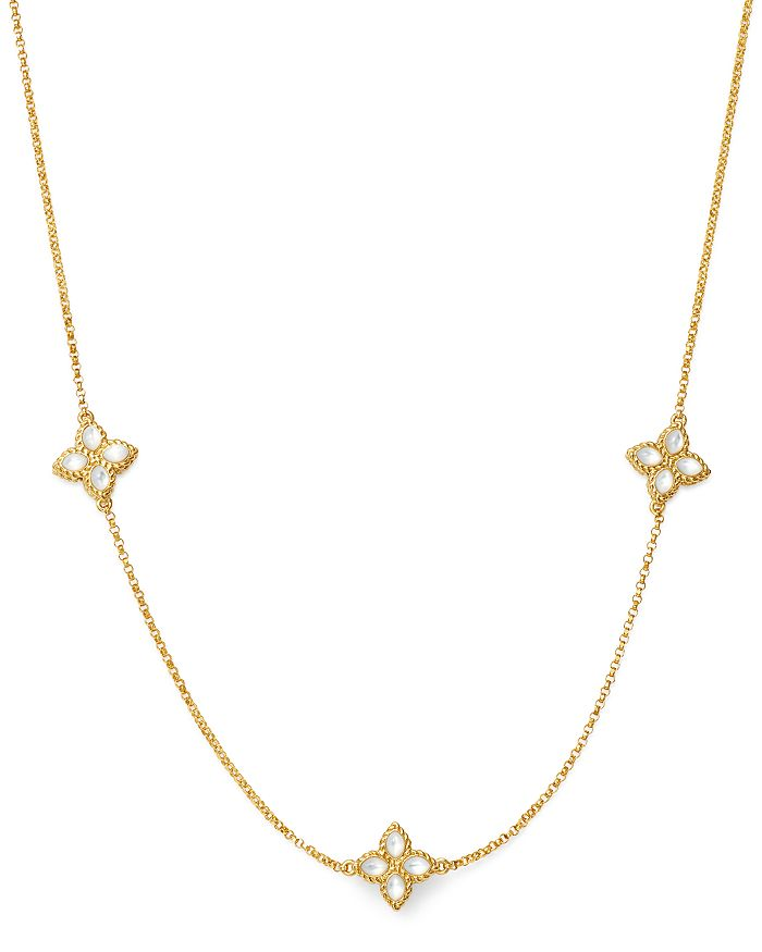 Roberto Coin - 18K Yellow Gold Venetian Princess Mother of Pearl Station Necklace, 18""