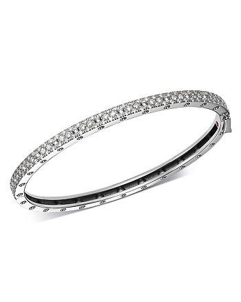 Roberto Coin - 18K White Gold Symphony Pois Moi Diamond Hinged Bangle Bracelet
