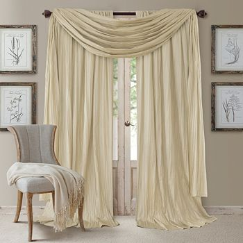 """Elrene Home Fashions - Athena 52"""" x 95"""" Crinkled Curtain Panels, Pair with Scarf Valance"""