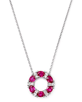 "Bloomingdale's - Ruby & Diamond Circle Pendant Necklace in 14K White Gold, 17.5"" - 100% Exclusive"