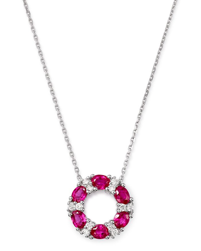 """Bloomingdale's Ruby & Diamond Circle Pendant Necklace in 14K White Gold, 17.5"""" - 100% Exclusive  