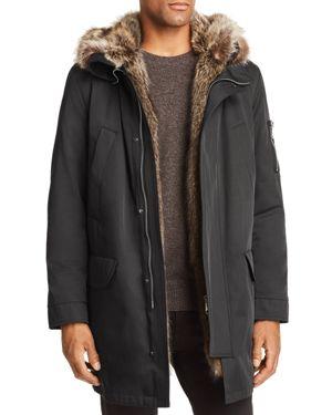 MAXIMILIAN FURS Fur Trim Parka in Black/Natural
