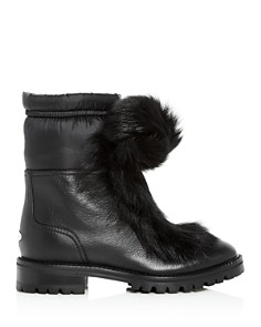 Jimmy Choo - Women's Glacie Faux-Fur Pom-Pom Booties