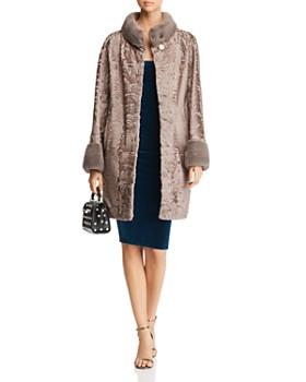 Maximilian Furs - Persian Lamb Shearling Coat with Mink Fur Trim - 100% Exclusive