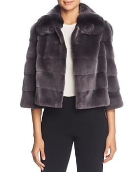 Maximilian Furs - Plucked Mink Fur Bolero with Chinchilla Fur Trim