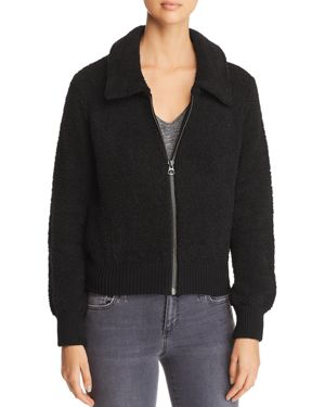 MARLED X Olivia Culpo Textured Knit Bomber Jacket in Black