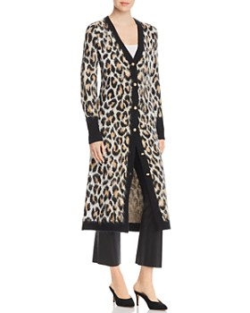 Marled - Leopard Print Duster Cardigan