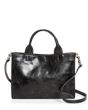STEVEN ALAN Brady Medium Leather Satchel in Black/Silver