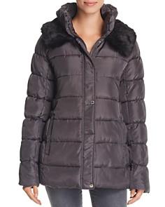Via Spiga - Ruched Stand Collar Faux Fur Trim Puffer Coat