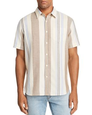 JACHS NY Variegated-Stripe Regular Fit Button-Down Shirt in Cream/Blue/Taupe