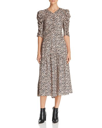 485f8222df238b Rebecca Taylor Ruched Leopard-Printed Silk Dress | Bloomingdale's