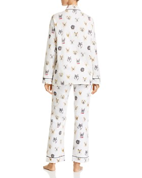 PJ Salvage - Think Pawsitive Dog Print Flannel Cotton Pajama Set