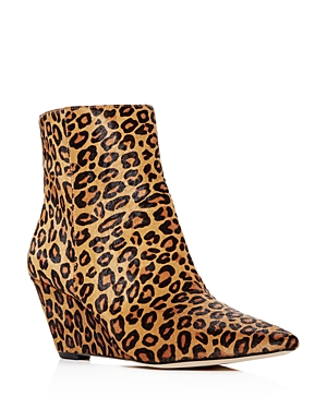 Donald Pliner Women's Jae Leopard Print Calf Hair Wedge Booties