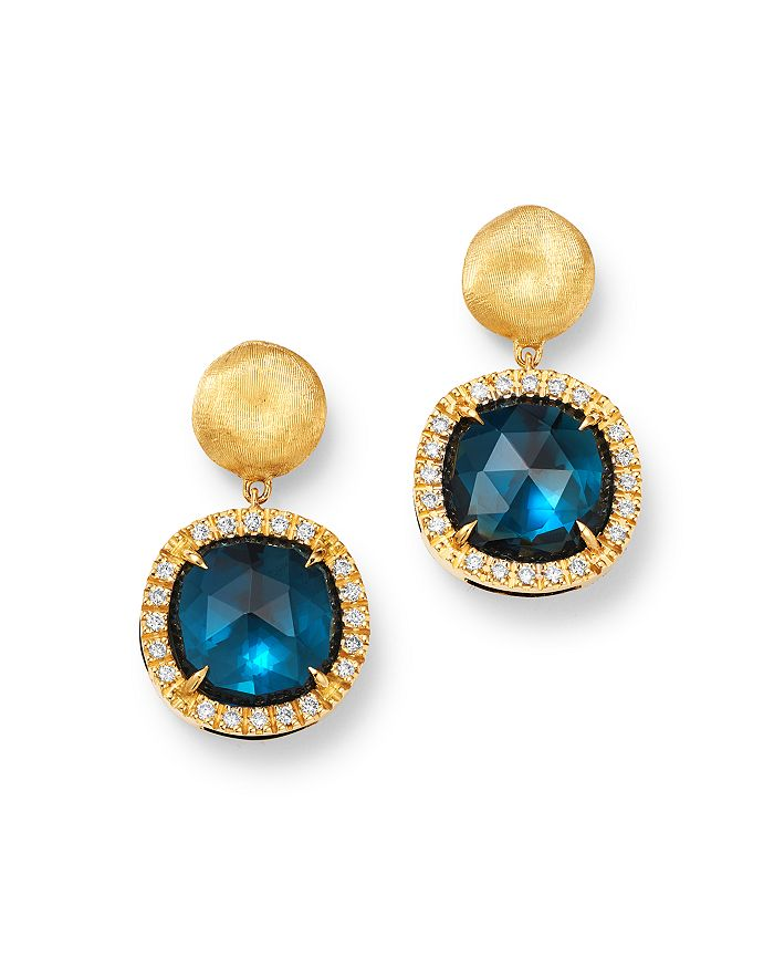 Marco Bicego 18k Yellow Gold Jaipur Color London Blue Topaz & Diamond Small Drop Earrings In Blue/gold