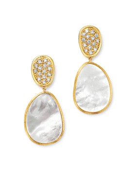 Marco Bicego - 18K Yellow Gold Lunaria Pavé Diamond & Mother of Pearl Small Drop Earrings