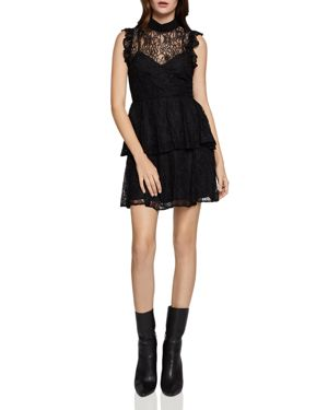 BCBGENERATION Bow Tie Lace Tiered A-Line Dress in Black