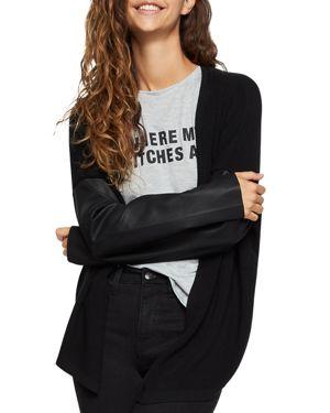 BCBGeneration Faux Leather-Sleeve Cardigan
