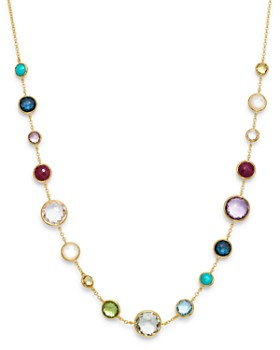 IPPOLITA - 18K Yellow Gold Lollipop Lollitini Clear Quartz, Mother of Pearl, Green Gold Citrine, Peridot, Green Agate, Blue Topaz, Turquoise, London Blue Topaz, Amethyst & Pink Tourmaline Short Necklace, 18""