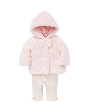 Little Me Girls' Faux-Fur Jacket, Metallic-Dotted Bodysuit & Striped Leggings Set - Baby