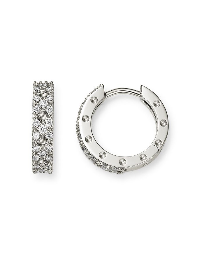 519acaec7 Roberto Coin - 18K White Gold Symphony Pois Moi Diamond Small Hoop Earrings