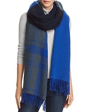 rag & bone Plaid Detail Color-Block Scarf