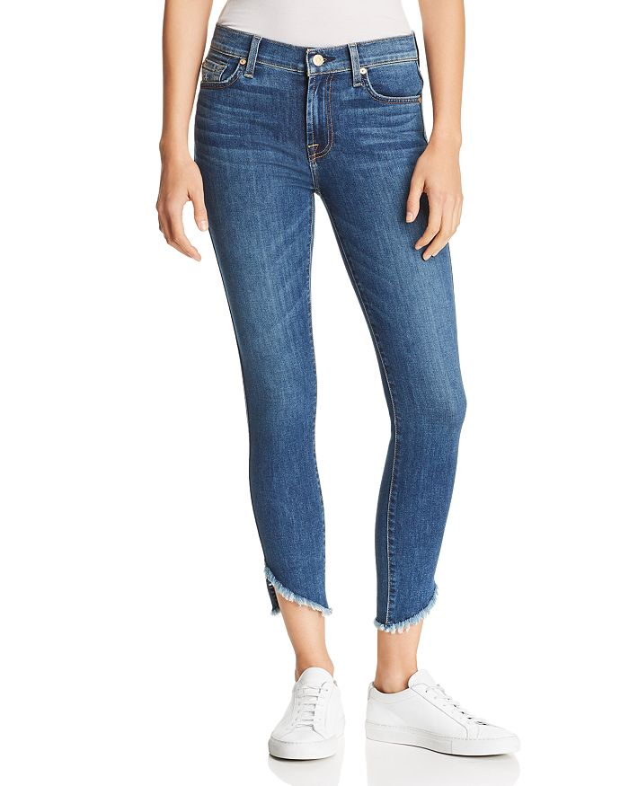 7 For All Mankind - Angled-Hem Skinny Ankle Jeans in Glam Medium
