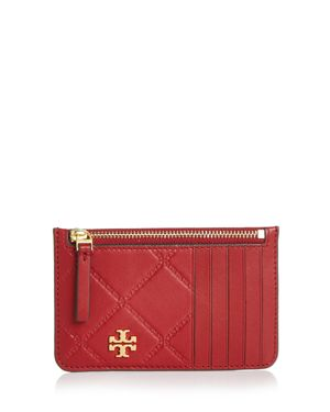 Georgia Top Zip Leather Card Case in Redstone/Gold